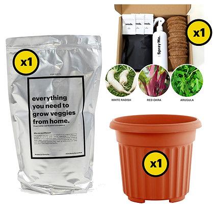 Bundle 1A: x1 Starter Kit (10%off) + x1 Veggie Mix (10% off)+ x1 Pot (310mm)