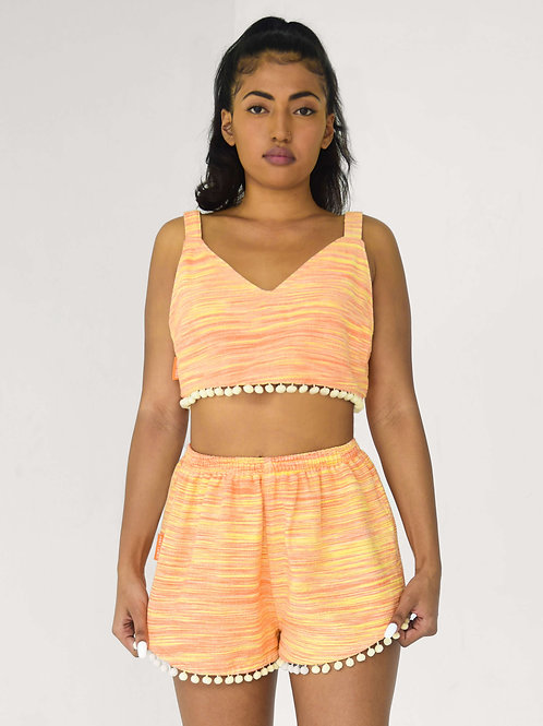 LOUNGE POMPOM TOP | papaya orange