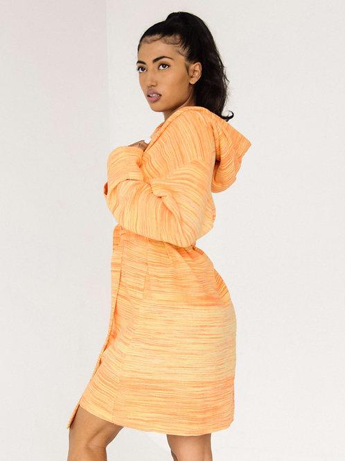 LOUNGE HOODIE ROBE  | papaya orange