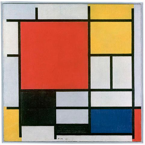 Composición en rojo, amarillo, azul y negro por Piet Mondrian