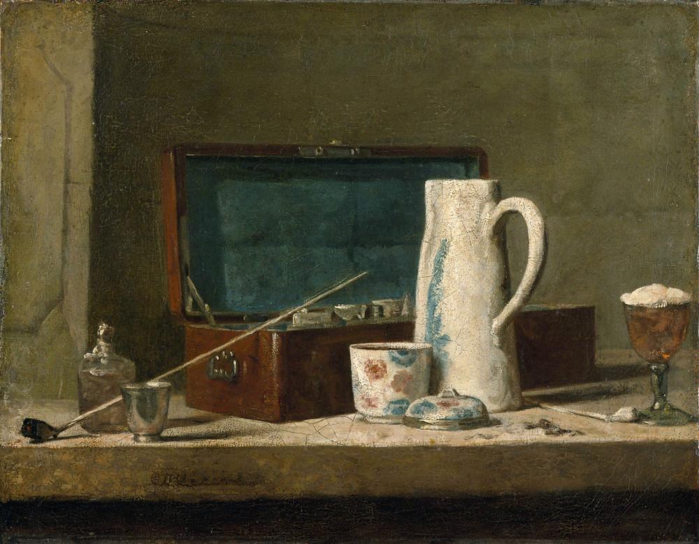Pipa y caja de pinturas por Chardin, 1730. Museo de Louvre, París.