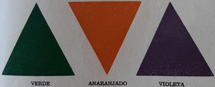 Los colores binarios verde anaranjado y violeta