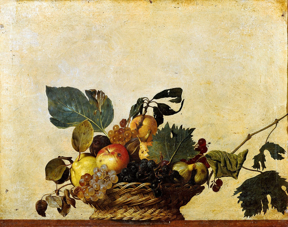 Canasta con frutas, bodegón por Caravaggio. Bodegón barroco.