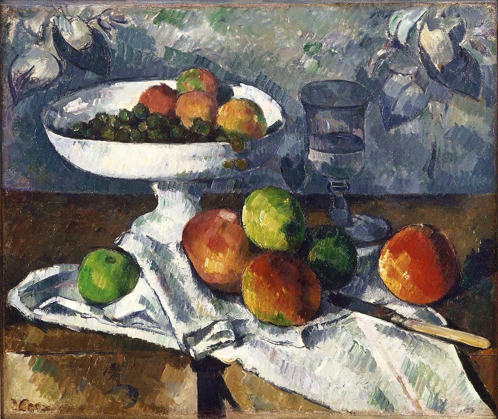 """""""Frutero, copa y manzanas"""" por Cezanne (1881). Colección particular René Lecomte, París."""