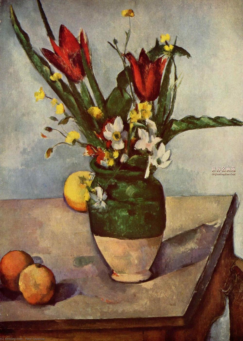 """""""Tulipanes y manzanas"""" por Paul Cezanne."""