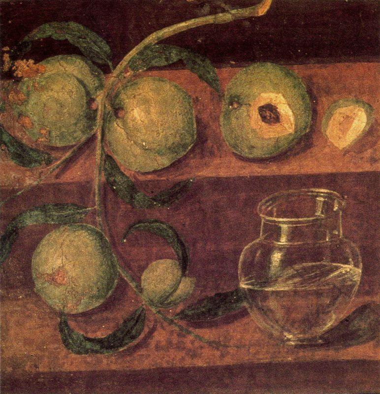 Melocotones y jarro de cristal. Nápoles, Museo Nacional.