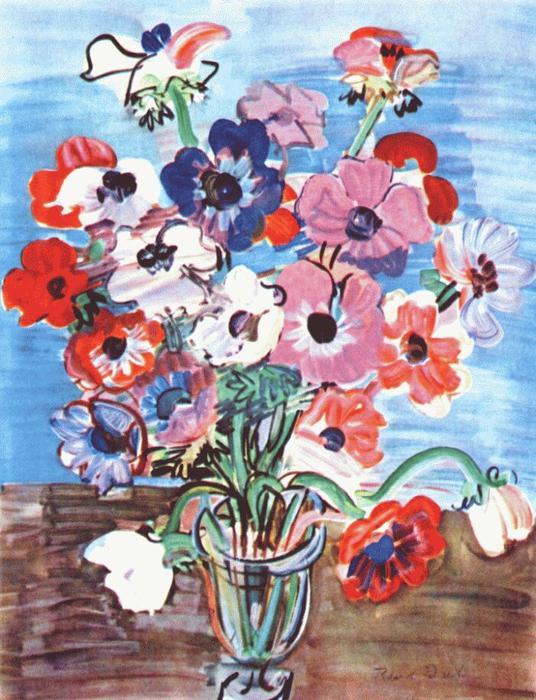 """""""Bouquet de anemones"""" por Raoul Dufy. Colección particular."""
