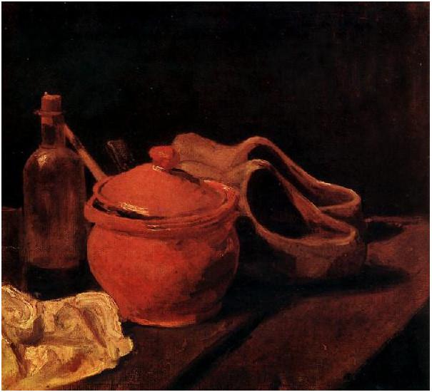 Naturaleza muerta con cerámica, botella y zuecos
