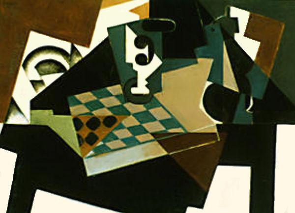 """""""El tablero de damas"""" por Juan Gris (1917). Museo de Arte Moderno, Nueva York."""