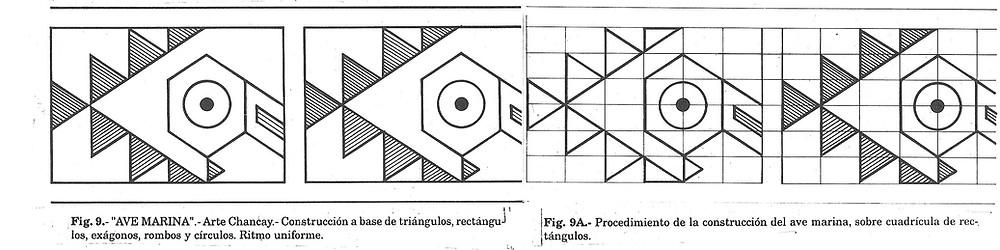 Friso decorativo del Arte Chancay. Ave marina en base a formas geométricas.sado
