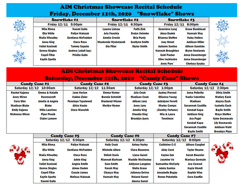 AIM Christmas 2020 Recital Schedule A.PN