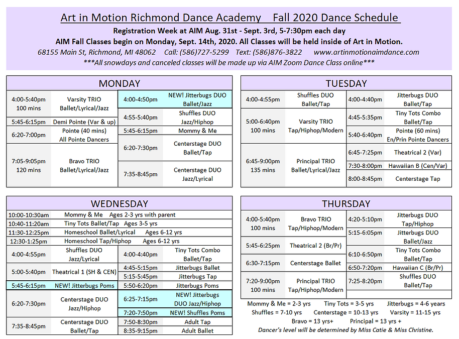 AIM 2020 Fall Schedule New Classes.PNG