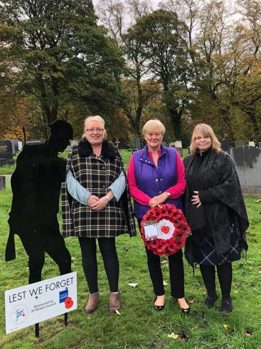 Cllr Lynn Clarke, Marlene Downey FOSCG, Sonia Smith, Bereavement Services Manager, St.Helebs Cemetery