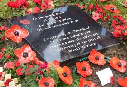 WW1 memorial stone to commemorate 100 year anniversary of the start of World War 1