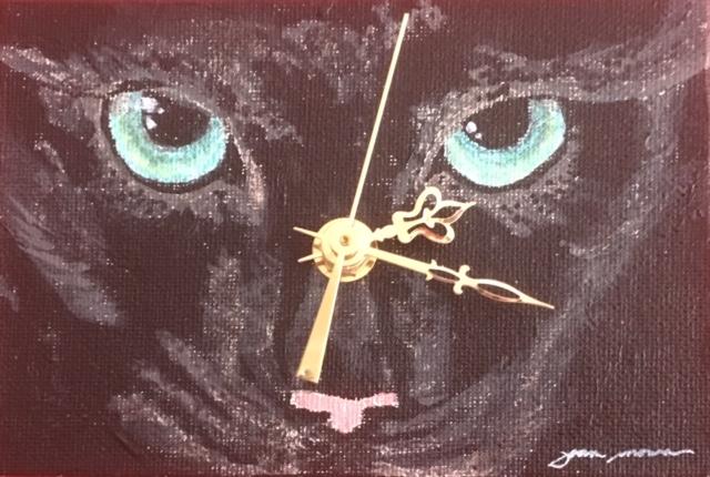 Joan Monroe - Black cat clock