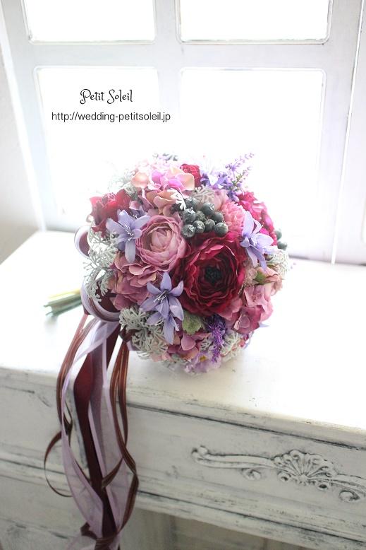 192.紫のブーケ(造花)
