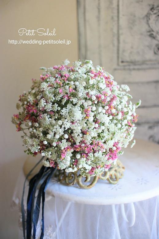 259.かすみ草とピンク小花のブーケ