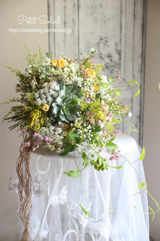 261.多肉植物と小花のワイルドブーケ