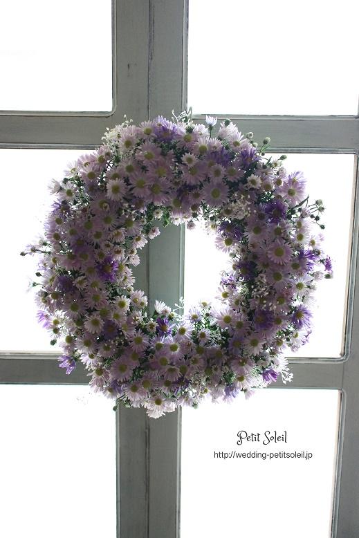 紫のウェルカムリース