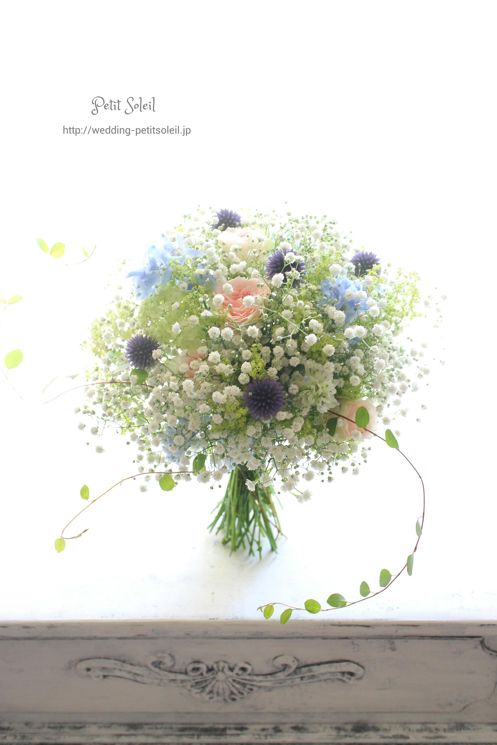 かすみ草と小花の七夕ブーケ
