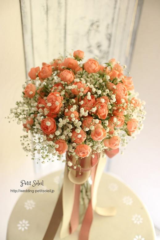201.かすみ草とコーラルピンクのバラ