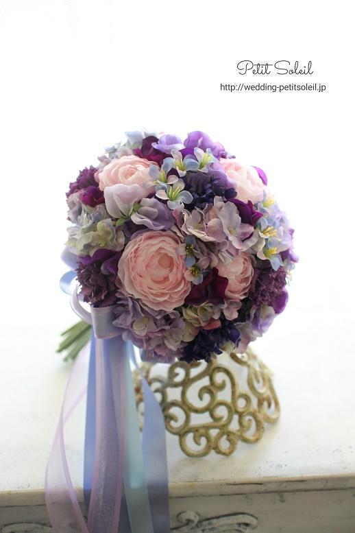 245.紫とピンクのクラッチ(造花)