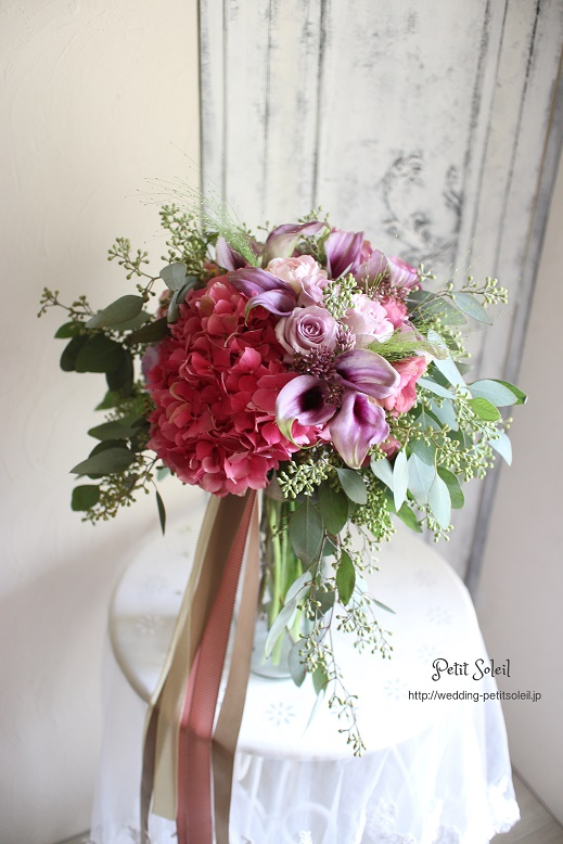 193.ピンクと紫のナチュラルブーケ