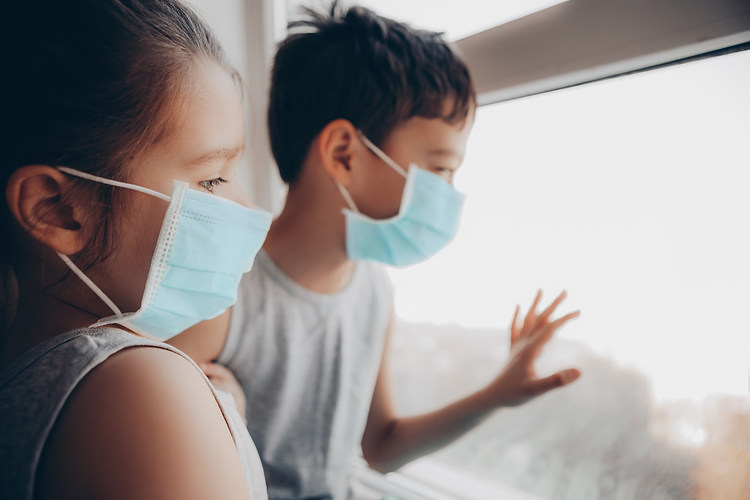Cute Children Boy and Girl in medical Ma