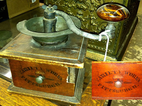 Mid 1800s Cast Iron And Wood Coffee Mill Grinder Box