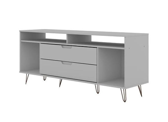 ROCKEFELLER 62.99 TV STAND WITH METAL LEGS AND 2 DRAWERS IN WHITE