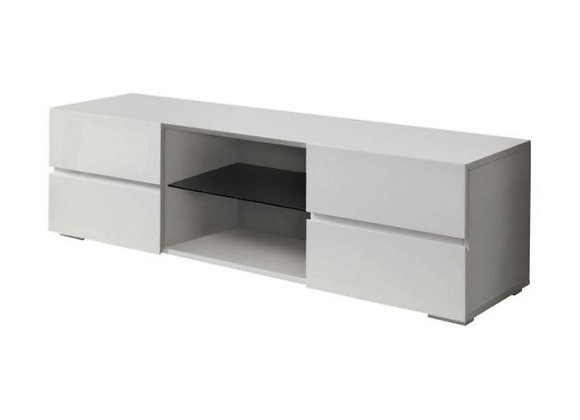 4-Drawer TV Console in Glossy White