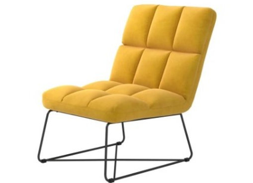 Armless Upholstered Accent Chair in Yellow
