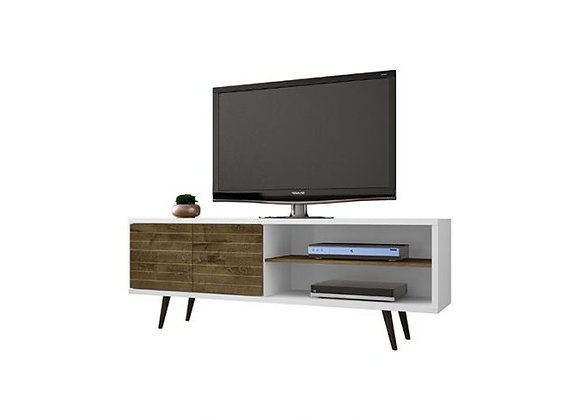 """Liberty 62.99"""" Mid Century - Modern TV Stand in White and Rustic Brown"""