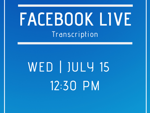 Facebook Live 7/15- Answers