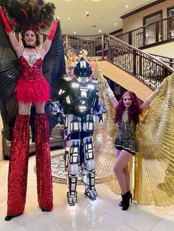 Robot,Stilt Lady, Wing Lady