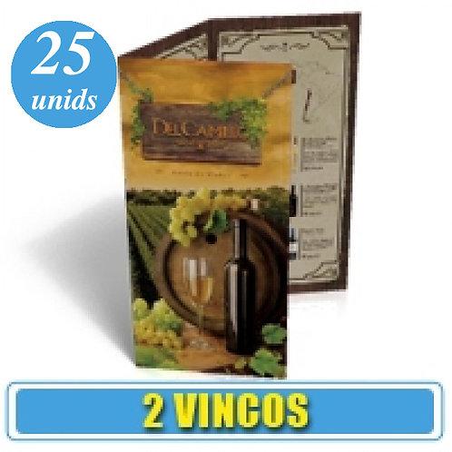 25 Cardápios 21x30 cm