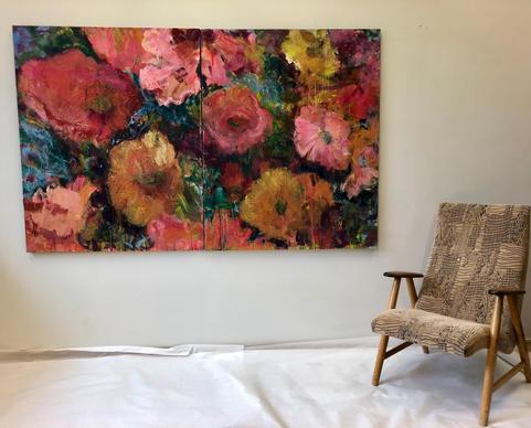Flower Power -maalaus (työhuoneripustus).