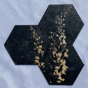 "7x7"" Graphite & Encaustics Wooden Hexagon"