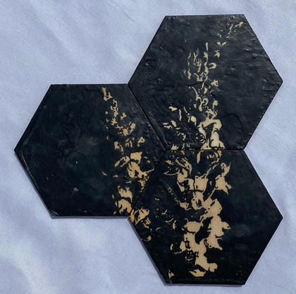 "7x7"" Graphite & Encaustic Wooden Hexagon"