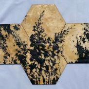 "7x10"" Graphite & Encaustics Wooden Hexagon"
