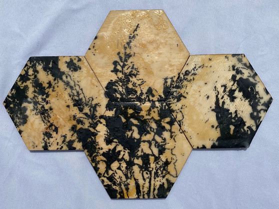 "7x10"" Graphite & Encaustic Wooden Hexagon"