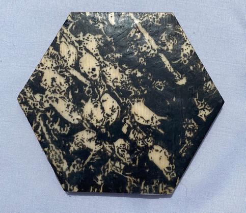 "4x3.5"" Graphite & Encaustic Wooden Hexagon"