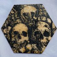 "4x3.5"" Graphite & Encaustics Wooden Hexagon"