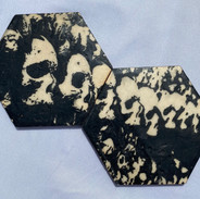"4x7"" Graphite & Encaustics Wooden Hexagon"