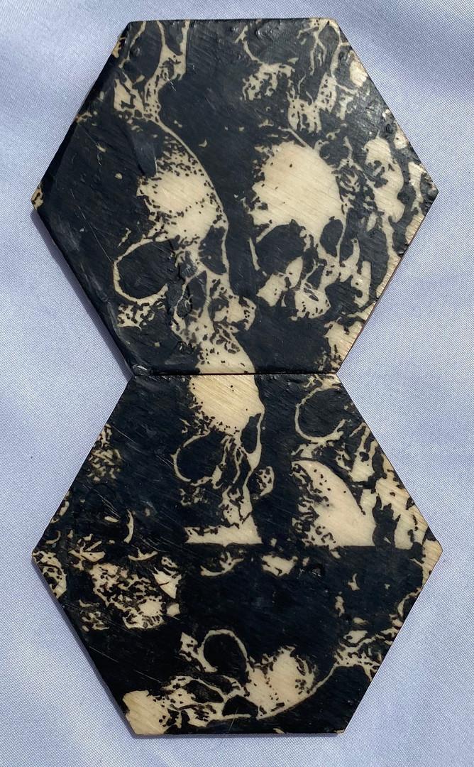 "4x7"" Graphite & Encaustic Wooden Hexagon"