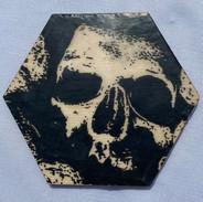 "4x3.5""Graphite & Encaustics Wooden Hexagon"