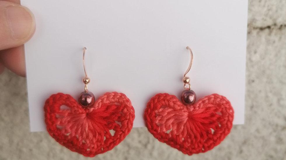 Two Tone Heart Earrings