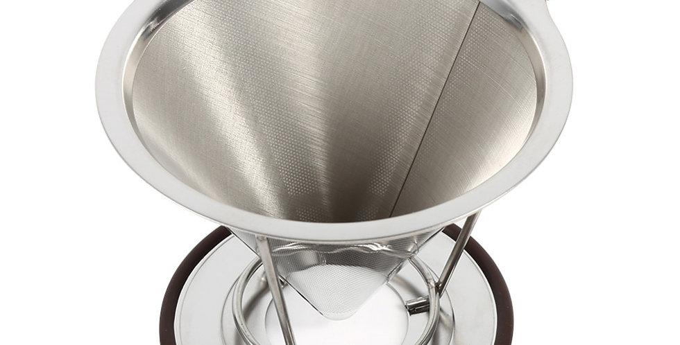 Filtro de café de cono de acero inoxidable Gotero Filtro de cono de café de malla de doble capa
