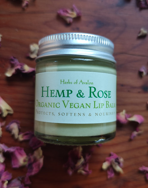 LUSCIOUS VEGAN LIP BALM - Organic Hemp and Rose - Conditions and Protects