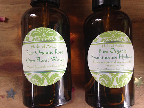 ORGANIC FRANKINCENSE & ROSE WATER SET OF TWO -Pure Distillate